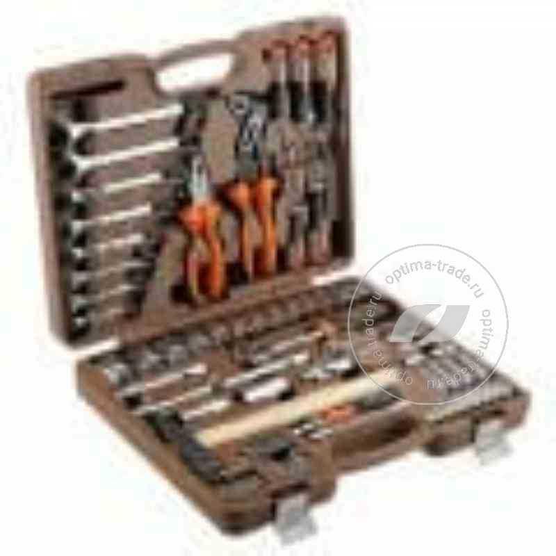 """Ombra OMT77S - универсальный набор: головки 1/2""""DR и 1/4""""DR (4-32 мм), ключи 8 шт, молоток..., 77 предметов"""