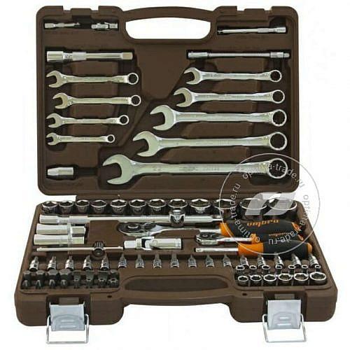 """Ombra OMT82S - универсальный набор: головки 1/2""""DR, 1/4""""DR (4-32 мм) + аксессуары, ключи 8-22 мм, 82 предмета"""
