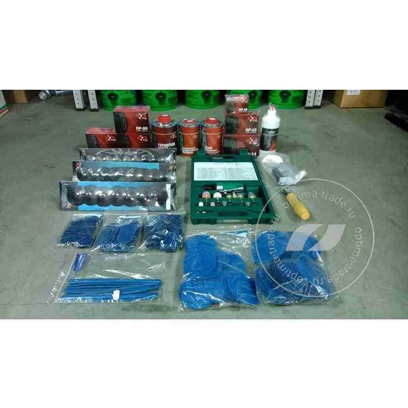 Комплект расходных материалов для шиноремонта (пластыри, химия, инструмент..)