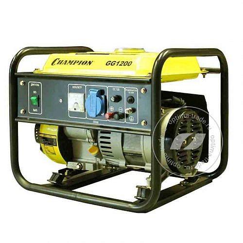 Champion GG1200 - генератор бензиновый, мощностью - 0,9/1,0 кВт, бак - 5,2 л., вес - 24,7 кг