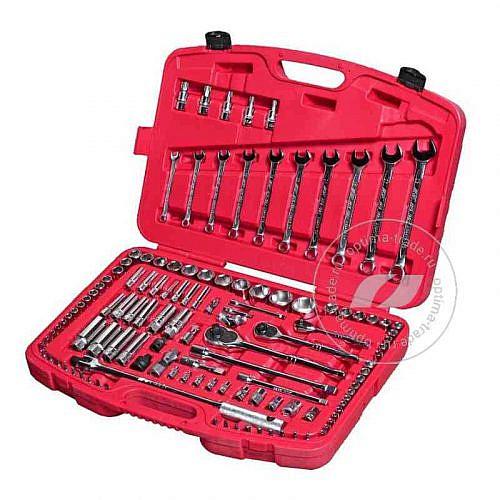 """JTC-H123C - универсальный набор инструмента, 1/2"""", 1/4"""" и 3/8""""DR , 123 предмета"""