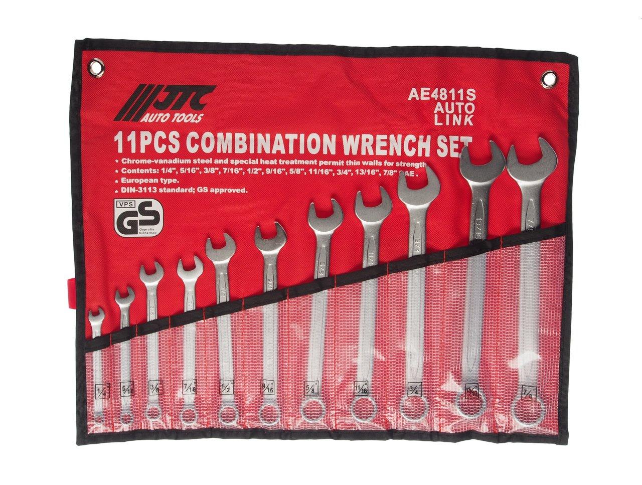 """Набор ключей комбинированных 1/4""""-7/8"""" 11 предметов в планшете JTC-AE4811S"""