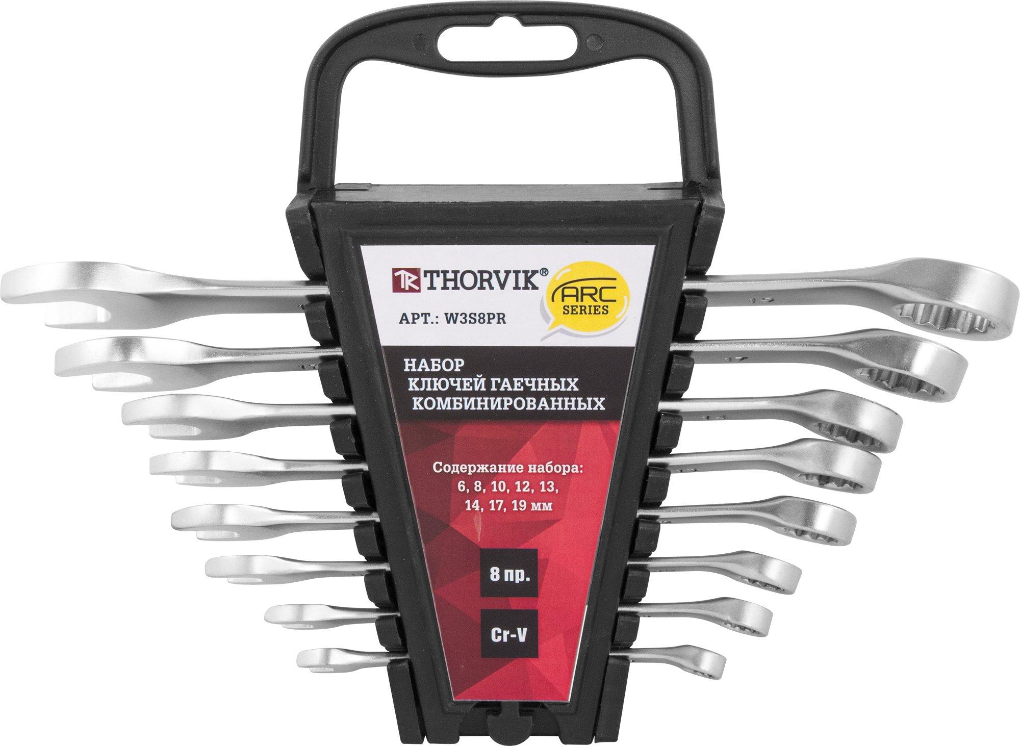 Набор ключей комбинированных на пластиковом держателе 6-19 мм, 8 предметов Thorvik THK-8787